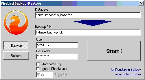 FBBackup - firebird, backup, restore - Simple utility for Firebird databases backup and restore